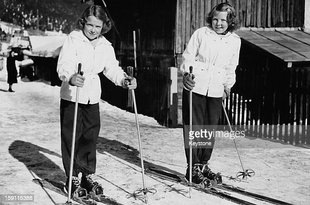 Princess Beatrix later Queen Beatrix of the Netherlands skiing in Tyrol Austria with her sister Princess Irene 12th February 1949