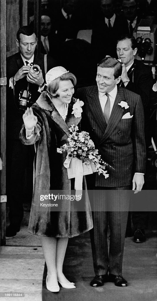Princess Beatrix, later Queen <a gi-track='captionPersonalityLinkClicked' href=/galleries/search?phrase=Beatrix+of+the+Netherlands&family=editorial&specificpeople=92396 ng-click='$event.stopPropagation()'>Beatrix of the Netherlands</a>, with her fiance Claus van Amsberg outside the town hall in Baarn, Netherlands, after giving notice of their upcoming marriage, 17th February 1966.
