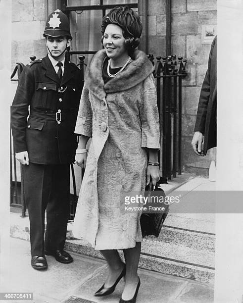 Princess Beatrix leaves St Paul's Knightsbridge church where took place the christening of young Sibylla Louise daughter of Princess Margaretha of...