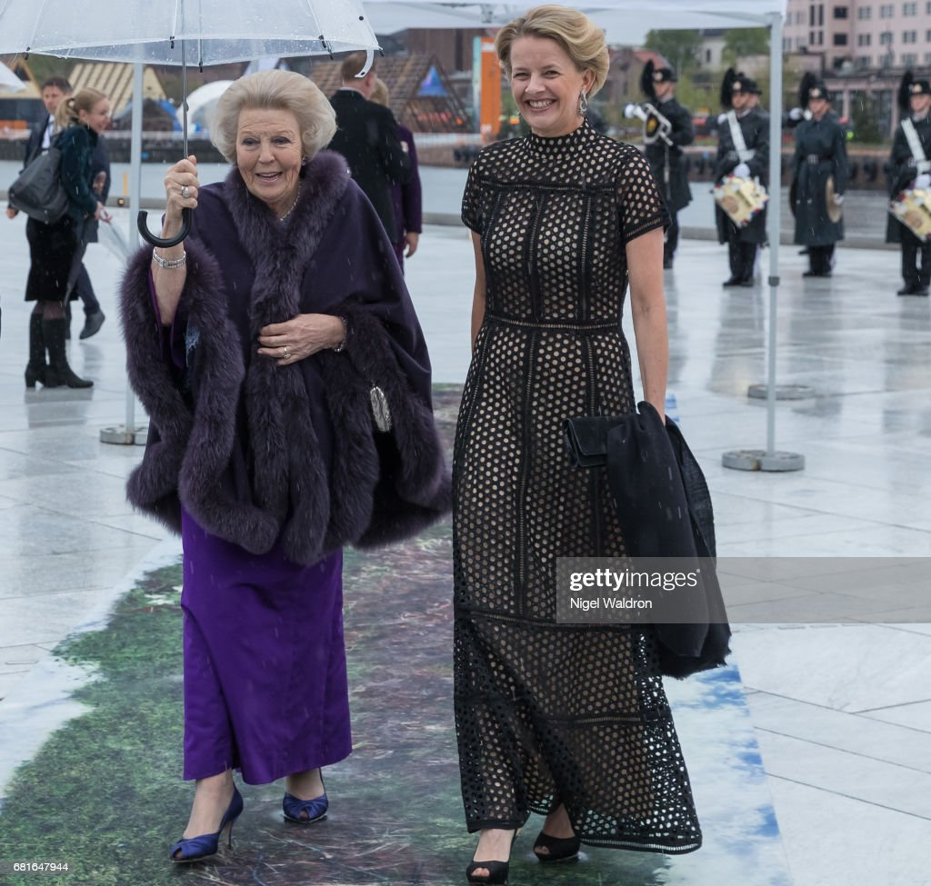 Princess Beatrix of Netherlands and Princess Mabel of Oranien-Nassau of Netherlands arrives at the Opera House on the occasion of the celebration of King Harald and Queen Sonja of Norway 80th birthdays on May 10 2017 in Oslo, Norway.