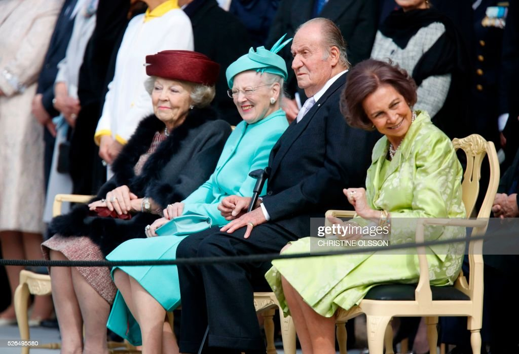 Princess Beatrix of Netherlands, Queen Margrethe of Denmark, King Juan Carlos I and Queen Sophia of Spain attend the 70th anniversary celebrations for King Carl Gustaf of Sweden in Stockholm on April 30, 2016. News Agency / Christine Olsson / Sweden OUT