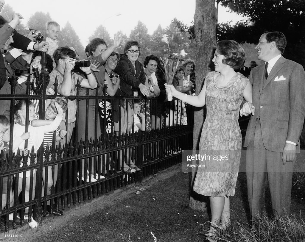 Princess Beatrix of the Netherlands and her fiancee Claus van Amsberg in the grounds of Soestdijk Palace Utrecht Netherlands after they announced...