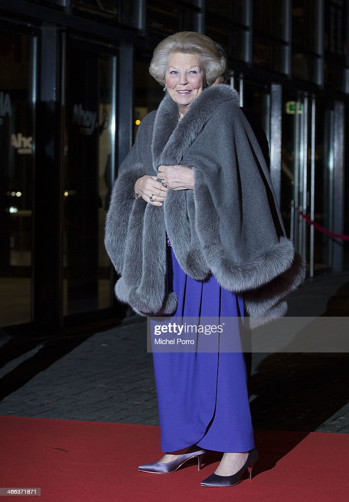 Princess Beatrix of The Netherlands and Rotterdam Mayor Ahmed Aboutaleb arrive to attend a celebration of the reign of Princess Beatrix on February 1, 2014 in Rotterdam, Netherlands.