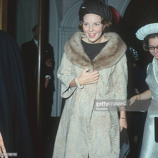 Princess Beatrix of the Netherlands arrives for the christening of Sybilla Louise Ambler the daughter of Princess Margaretha of Sweden and John...