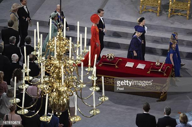 Princess Beatrix of the Netherlands arrives with Princess Mabel of the Netherlands and her granddaughters Princess Alexia Princess Ariane and...