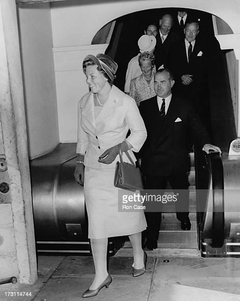Princess Beatrix of the Netherlands arriving at Southampton after a trip aboard the new Dutch liner SS Rotterdam on its maiden voyage 4th September...