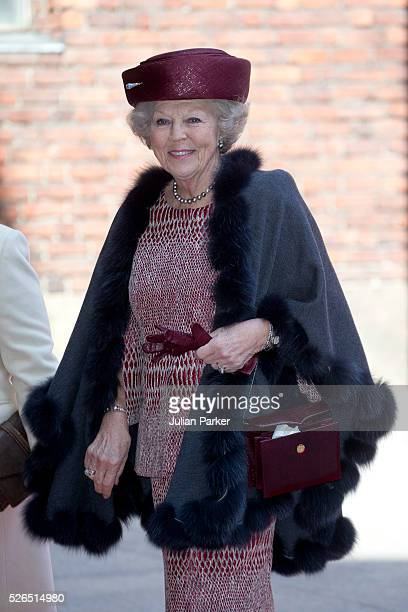 Princess Beatrix of the Netherlands attends a Lunch at City Hall Stockholm on the occasion of King Carl Gustaf of Sweden's 70th Birthday on April 30...