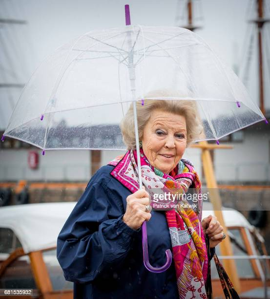 Princess Beatrix of The Netherlands attends a lunch on the Royal yatch Norge on the ocassion of the celebration of King Harald and Queen Sonja of...