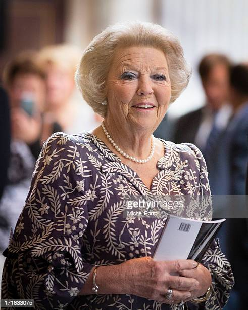 Princess Beatrix of The Netherlands attends the 'Royal Palace 400 Years In The Heart Of Amsterdam Canals' exhibition on June 27 2013 in Amsterdam...