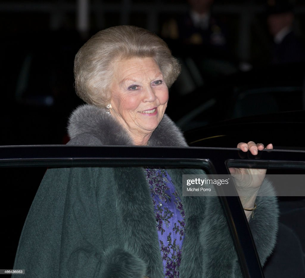 Princess Beatrix of The Netherlands leaves after attending a celebration of the reign of Princess Beatrix on February 1, 2014 in Rotterdam, Netherlands.