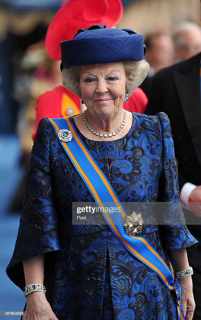 Princess Beatrix of the Netherlands leaves following the inauguration ceremony for HM King Willem Alexander of the Netherlands, at New Church on April 30, 2013 in Amsterdam, Netherlands.