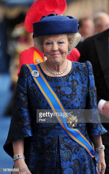 Princess Beatrix of the Netherlands leaves following the inauguration ceremony for HM King Willem Alexander of the Netherlands at New Church on April...