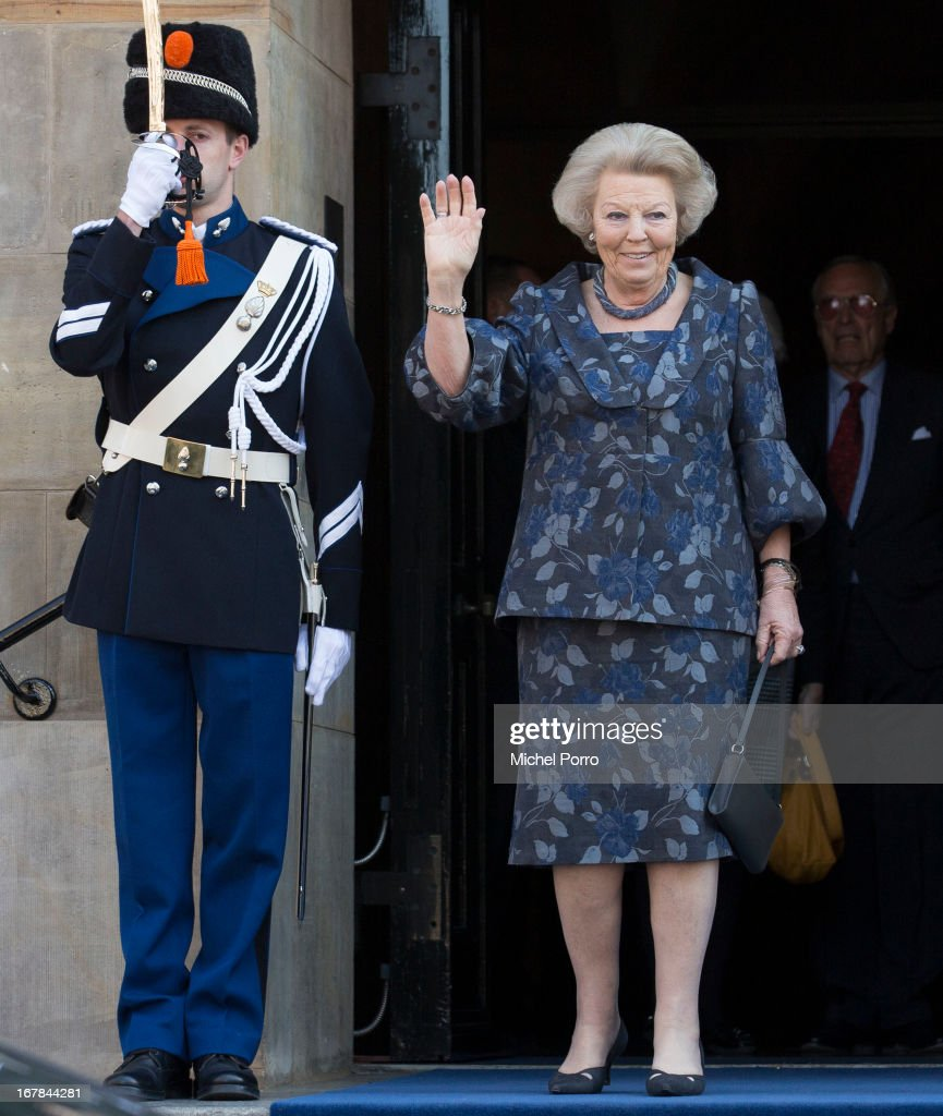 Princess Beatrix of The Netherlands leaves the Royal Palace after brunch with King Willem Alexander and Queen Maxima of The Netherlands on May 1, 2013 in Amsterdam Netherlands.