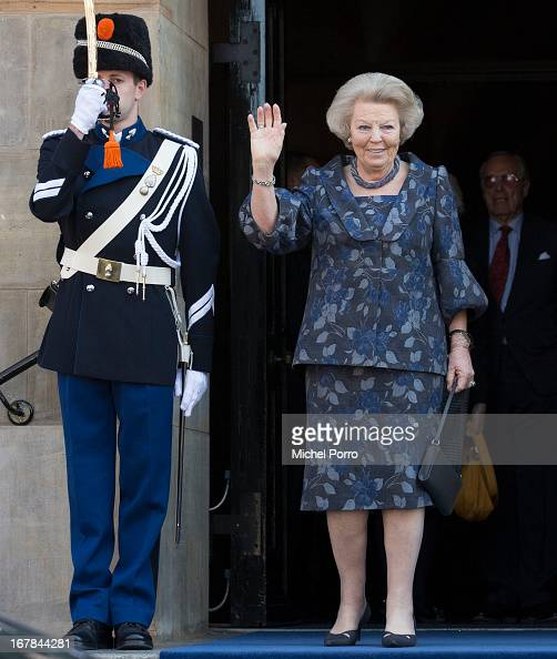 Princess Beatrix of The Netherlands leaves the Royal Palace after brunch with King Willem Alexander and Queen Maxima of The Netherlands on May 1 2013...