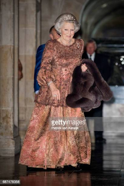 Princess Beatrix of The Netherlands leaves the royal palace after the gala dinner for the Corps Diplomatic on May 23 2017 in Amsterdam Netherlands