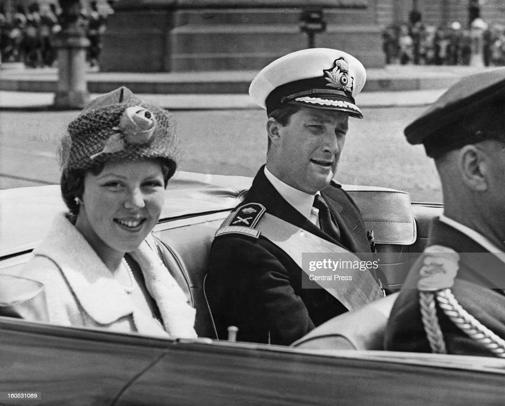 Princess Beatrix of the Netherlands on her way to the Royal Palace of Brussels with Prince Albert of Belgium after her arrival in the city during a four-day visit to Belgium, 31st May 1960.