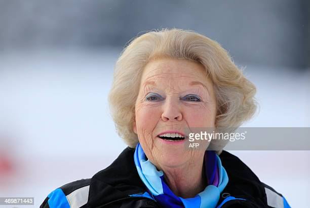 Princess Beatrix of The Netherlands poses at a photocall during their ski holidays in Lech am Arlberg on February 17 2014 AFP PHOTO / PIERRE TEYSSOT