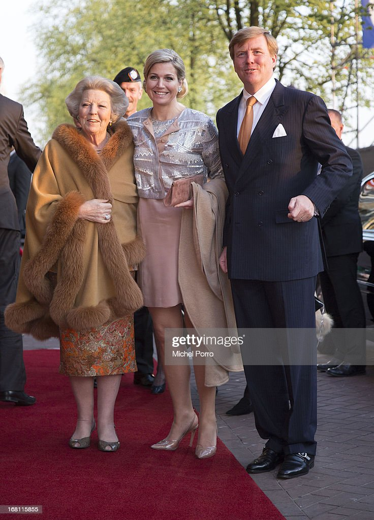 Princess Beatrix of the Netherlands, Queen Maxima of the Netherlands and King Willem-Alexander of The Netherlands attend the Freedom Concert on May 5, 2013 in Amsterdam Netherlands.