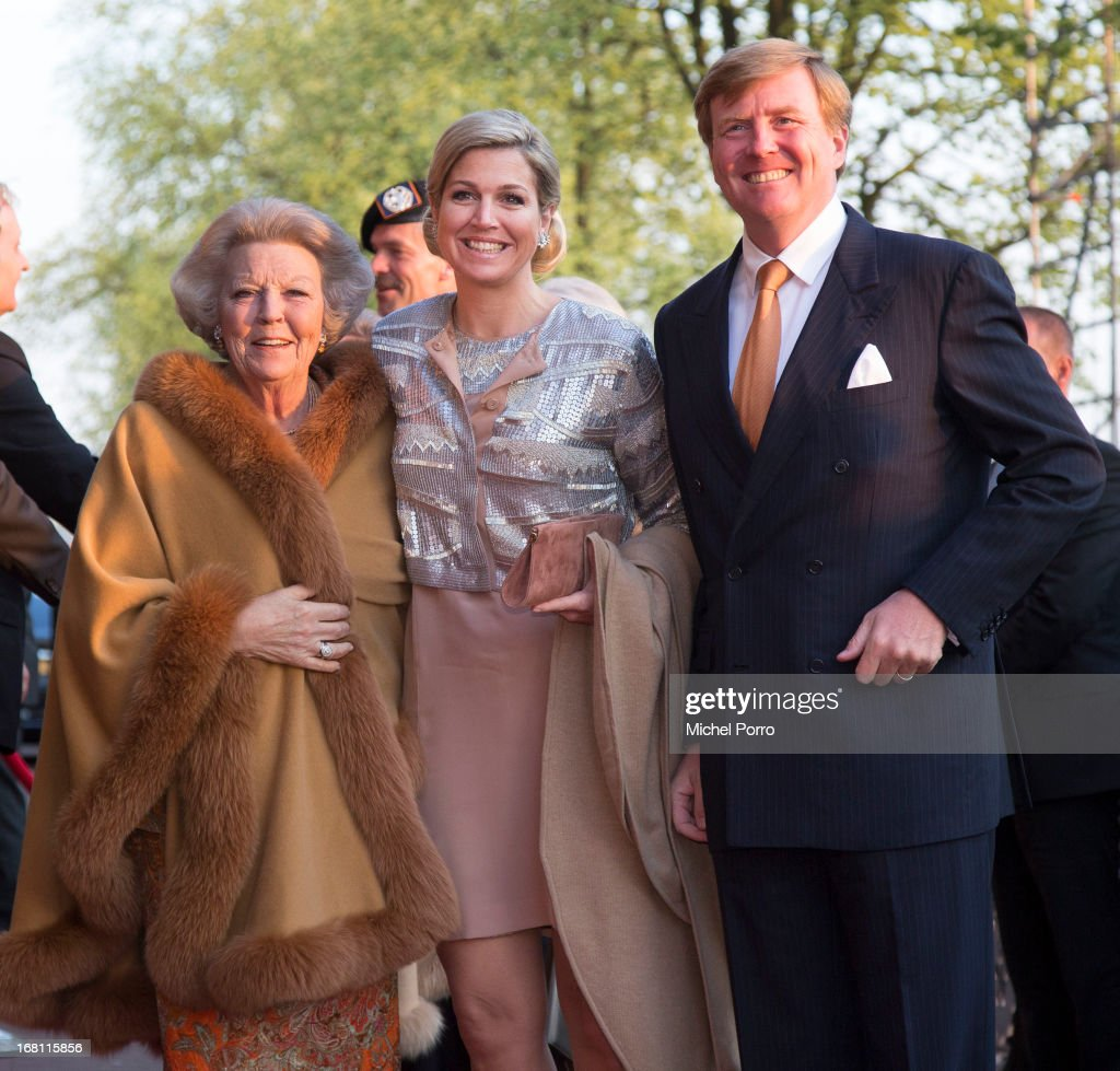 Princess <a gi-track='captionPersonalityLinkClicked' href=/galleries/search?phrase=Beatrix+of+the+Netherlands&family=editorial&specificpeople=92396 ng-click='$event.stopPropagation()'>Beatrix of the Netherlands</a>, Queen Maxima of the Netherlands and <a gi-track='captionPersonalityLinkClicked' href=/galleries/search?phrase=King+Willem-Alexander&family=editorial&specificpeople=160214 ng-click='$event.stopPropagation()'>King Willem-Alexander</a> of The Netherlands attend the Freedom Concert on May 5, 2013 in Amsterdam Netherlands.