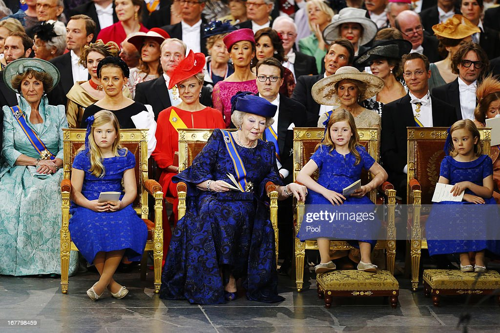 Princess Beatrix of the Netherlands (front row 2nd L) sits with her granddaughters Princess Catharina-Amalia of the Netherlands, Princess Alexia of the Netherlands (2nd R) and Princess Ariane of the Netherlands during the inauguration of HM King Willem-Alexander of the Netherlands and HM Queen Maxima of the Netherlands at New Church on April 30, 2013 in Amsterdam, Netherlands.