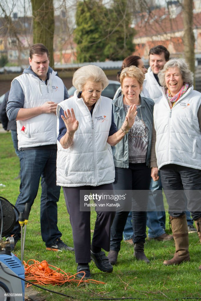 Princess Beatrix of The Netherlands volunteers for NL Doet in the the kindergarden on March 11, 207 in IJsstelsteijn, The Netherlands. NL Doet is a National Volunteer day organized by the Oranje Fonds.