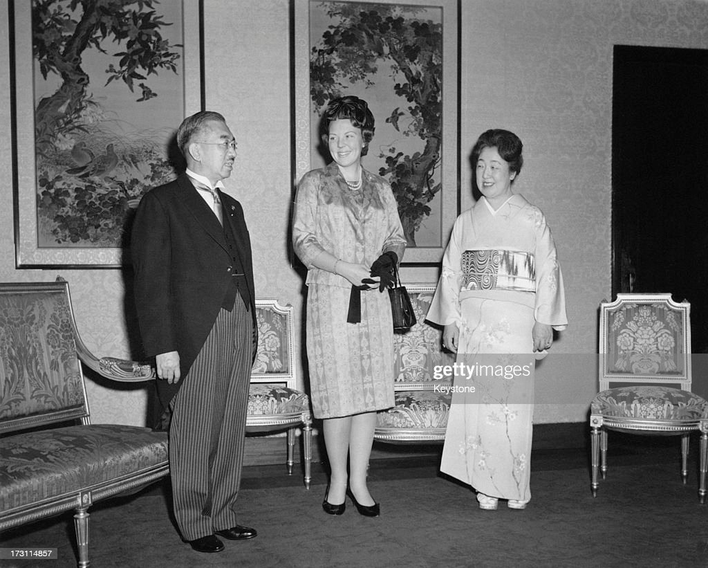 Princess Beatrix of the Netherlands (centre) with Emperor Hirohito (1901 - 1989) and Empress Nagako (1903 - 2000) during an official visit to Japan, Tokyo, 8th Aprill 1963.