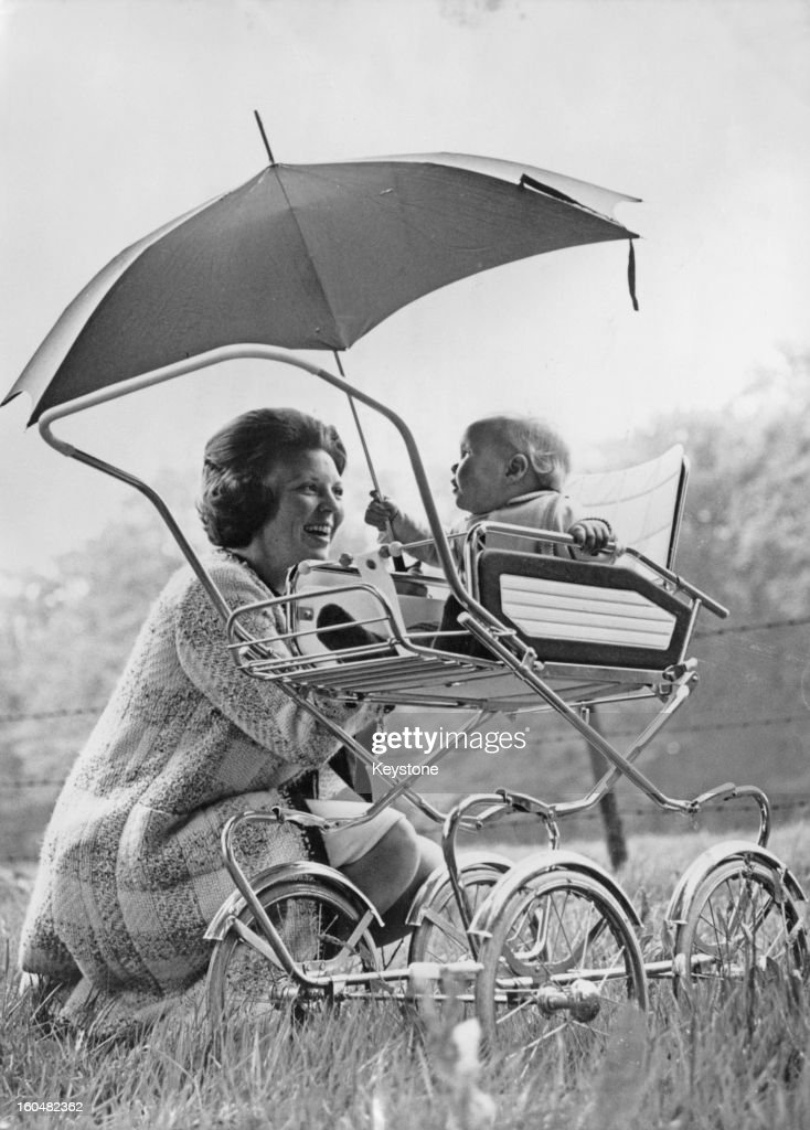 Princess Beatrix of the Netherlands with her eldest son WillemAlexander Prince of Orange at their home at Drakesteijn Netherlands 4th August 1968