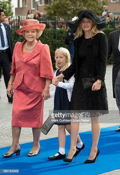 Princess Beatrix of the Netherlands with Princess Mabel of the Netherlands and Luanna attending the Wedding Of HRH Prince Jaime de Bourbon Parme and...