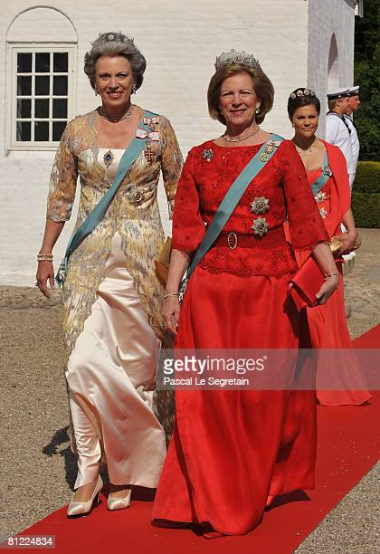Princess Benedikte and former Queen of Greece AnneMarie arrive to attend the wedding between Prince Joachim of Denmark and Marie Cavallier on May 24...