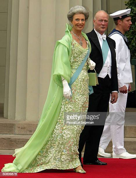 Princess Benedikte aunt to Crown Prince Frederik and her husband Prince Richard arrive to attend the wedding between Danish Crown Prince Frederik and...