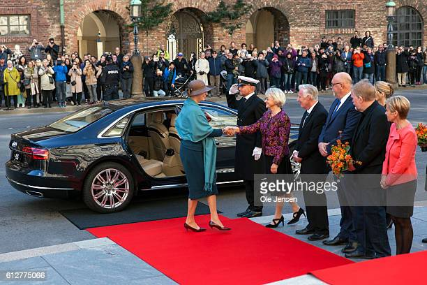 Princess Benedikte is greeted by the Presidium for the Parliament where she and the rest of the Royal family will attend the opening of the...