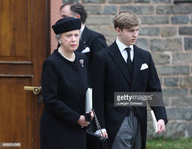 Princess Benedikte of Denmark and Prince Constantin zu SaynWittgenstein leave the funeral service for the deceased Prince Richard of...