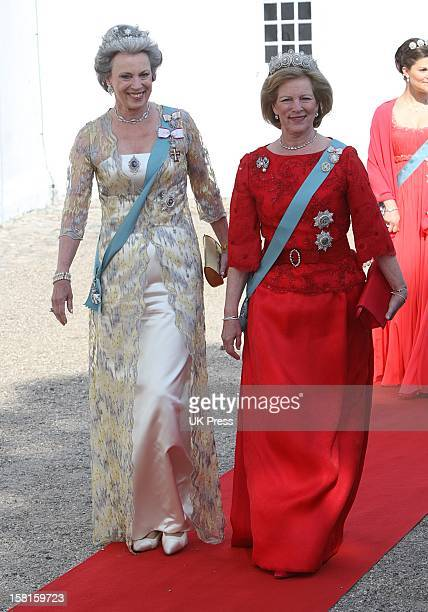 Princess Benedikte Of Denmark And Queen Anne Marie Of Greece Arrive For The Wedding Of Prince Joachim Of Denmark And Miss Marie Cavallier At...