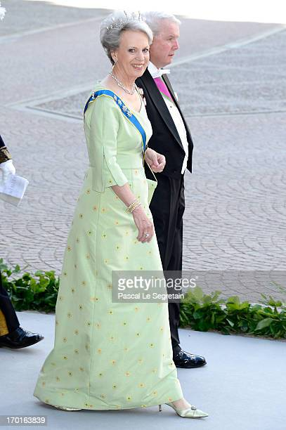 Princess Benedikte of Denmark and Richard Prince of SaynWittgensteinBerleburg attend the wedding of Princess Madeleine of Sweden and Christopher...