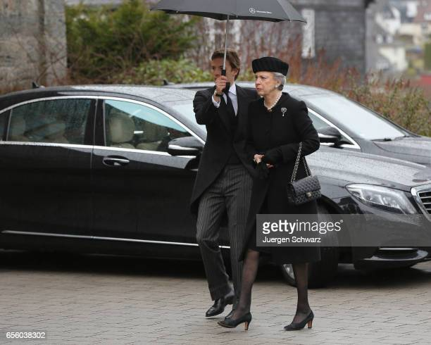 Princess Benedikte of Denmark arrives at the funeral service for her deceased husband Prince Richard of SaynWittgensteinBerleburg at the Evangelische...