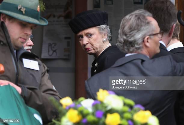 Princess Benedikte of Denmark arrives at the funeral service for her deceased husband Prince Richard of SaynWittgensteinBerleburg at the Evangelische...