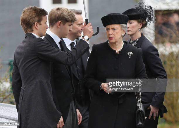 Princess Benedikte of Denmark arrives with Princess Nathalie zu SaynWittgenstein at the funeral service for her deceased husband Prince Richard of...