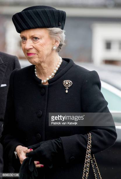 Princess Benedikte of Denmark attends the funeral of her deceased husband Prince Richard at the Evangelische Stadtkirche on March 21 2017 in Bad...