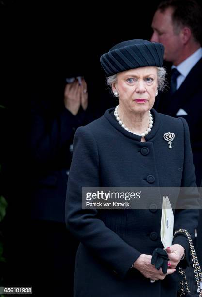 Princess Benedikte of Denmark attends the funeral of Prince Richard at the Evangelische Stadtkirche on March 21 2017 in Bad Berleburg Germany Prince...