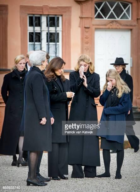 Princess Benedikte of Denmark Carina Axelsson Princess Alexandra zu SaynWittgensteinBerleburg and Countess Ingrid attend the funeral service of...