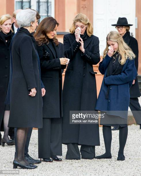 Princess Benedikte of Denmark Carina Axelsson Princess Alexandra zu SaynWittgensteinBerleburg and Countess Ingrid attend the funeral service of...