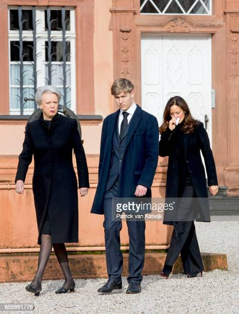 Princess Benedikte of Denmark Count Richard and Carina Axelsson attend the funeral service of Prince Richard zu SaynWittgensteinBerleburg at the...