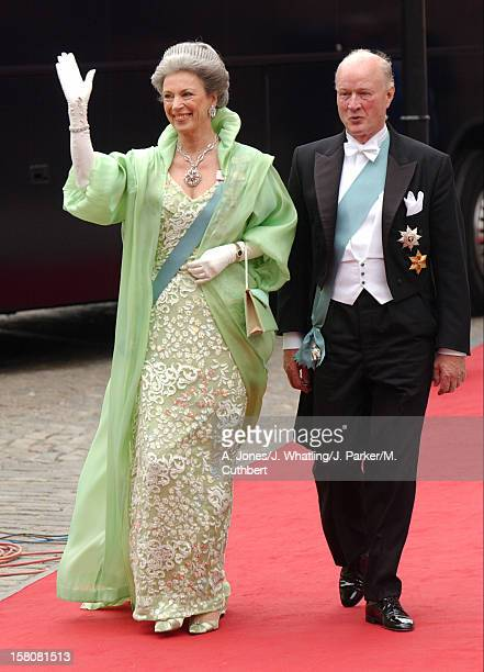 Princess Benedikte Of Denmark Husband Prince Richard Berleburg Attend The Wedding Of Crown Prince Frederik Mary Donaldson At The Vor Frue Kirke...