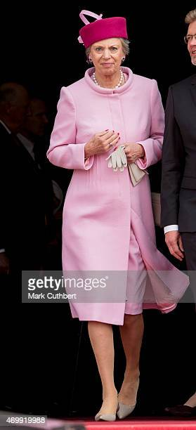Princess Benedikte of Denmark leaves the Town Hall after lunch during festivities for the 75th birthday of Queen Margrethe II Of Denmark on April 16...