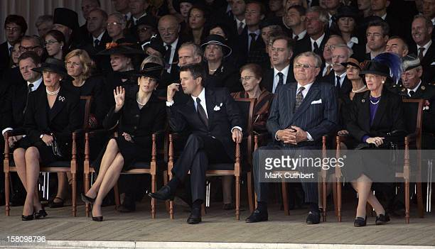 Princess Benedikte Queen Margrethe Ii Prince Henrik Crown Prince Frederik Crown Princess Mary At Copenhagen Harbour Where The Coffin Is Transfered To...
