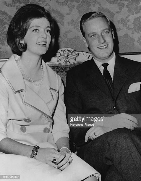 Princess Birgitta and her fiance Prince of Hohenzollern have announced their engagement from the Royal Palace on December 19 1960 in Stockholm Sweden