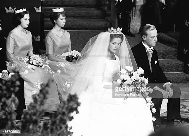 Princess Birgitta of Sweden and her groom Prince Johann of Hohenzollern during their religious wedding ceremony on July 30 1961 in Sigmaringen Germany