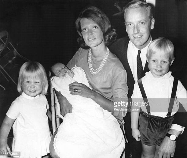 Princess Birgitta of Sweden and her husband Prince Johann Georg of Hohenzollern present their baby boy Hubertus a few weeks old in an official...