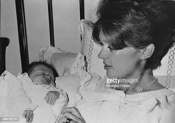 Princess Birgitta of Sweden is holding her newborn daughter Desiree Margerethe at the Munich Hospital on December 04 1963 in Munich Germany