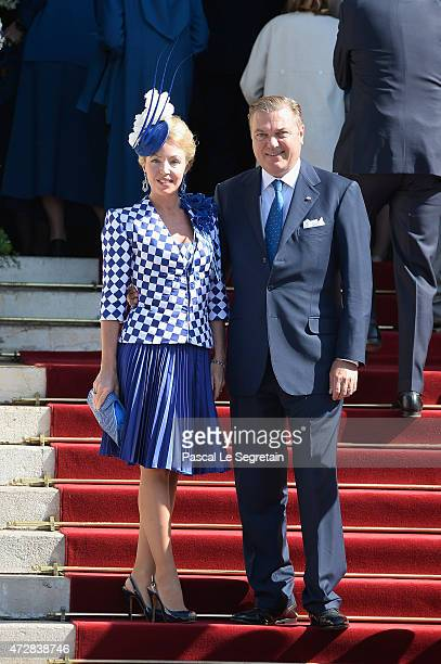 Princess Camilla of Bourbontwo Sicilies and Prince Charles of Bourbontwo Sicilies attend The Baptism Of The Princely Children at The Monaco Cathedral...